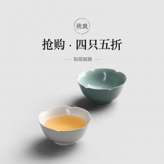 Drink to shadow celadon cup six degrees of jingdezhen six cups of ceramic tea set bowl cup sample tea cup hat
