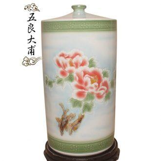 Barrel ceramics with cover 50 kg jingdezhen porcelain 25 l Chinese red ricer box decoration storage cylinder surface of cylinder ricer box