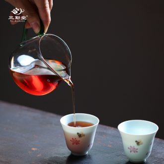 The three frequently small sample tea cup jingdezhen ceramic cups celadon black tea pu-erh tea cup S41013 personal master cup