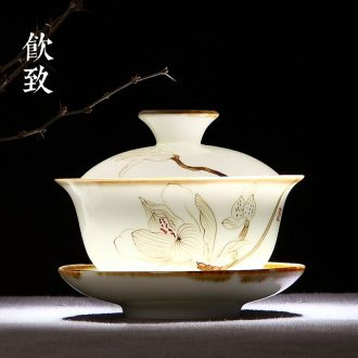 Drink to suit household contracted ceramic powder celadon tea sets kung fu tea set hand-painted xuan lines of a complete set of tea set gift box
