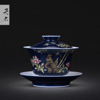 Jingdezhen ceramics ji blue glaze hand-painted paint wrap branch flowers only three tureen lid cup kung fu tea cups
