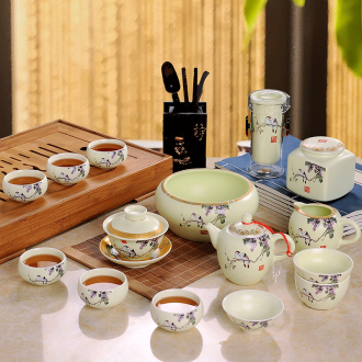 Kung fu tea set suit household Chinese hand-painted jingdezhen ceramic tea office six cups of a complete set of tea sets
