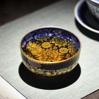 Jingdezhen ceramics sweet hand-painted colored enamel craft kung fu tea set three to bowl tureen tea bowl to tea cups