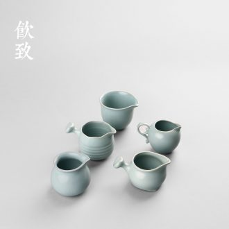 Drink to celadon bamboo tea tray trumpet contracted household ceramic tea set round water kung fu tea set solid wood pile