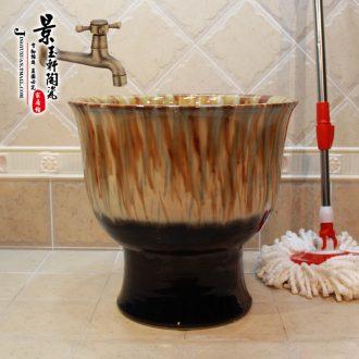 Jingdezhen JingYuXuan ceramics Yellow blue and white lump on the sole Decorative pattern Fission mop pool