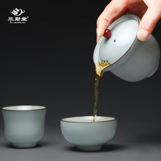 Three frequently hall ceramic mug cups with cover filter personal mug Jingdezhen office separation tea cups