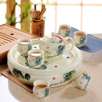 Kung fu tea set jingdezhen ceramic contracted household celadon teapot teacup tea tray portable Japanese trip