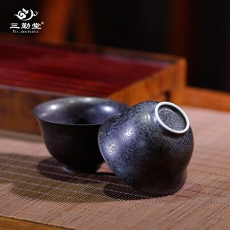 Three frequently metal glaze sample tea cup Jingdezhen ceramic kung fu tea set personal single cup size hand master cup