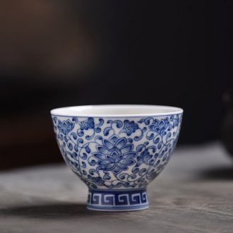 JingJun jingdezhen ceramics hand-painted colored enamel in blue and white hand sample tea cup cup masters cup