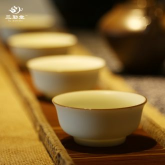 Three frequently hall persimmon caddy jingdezhen ceramic seal portable small wake POTS of tea warehouse travel home