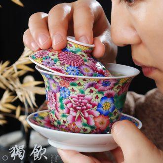 Jingdezhen hand-painted colored enamel colour xi shi pot on the glaze ceramic teapot little teapot kungfu single pot