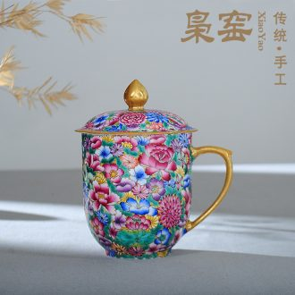 Jingdezhen wire inlay ceramic sample tea cup Colored enamel personal kung fu master cup single cup colored enamel lotus tea cups
