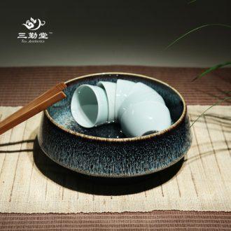Three frequently hall jingdezhen shadow green ceramic fair mug of tea large sea kung fu tea tea tea spare parts