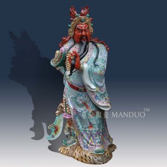 Jingdezhen 40 cm high sculpture porcelain color samsung furnishing articles fu lu shou samsung auspicious porcelain