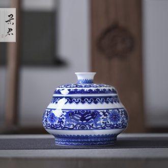 Pu 'er JingJun caddy ceramics Your kiln seal pot celadon storage tank size tea boxes