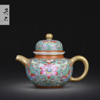 JingJun hand-sketching jingdezhen blue and white porcelain teapot landscape character ceramic kung fu tea set single pot teapot