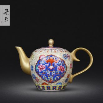 JingJun jingdezhen hand-drawn colored enamel POTS of flowers and birds medallion ceramic kung fu tea set single pot of tea tea
