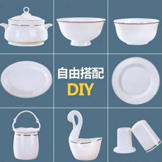 Insulation porcelain fu ji bowl of jingdezhen ceramic bowl ou bowl dish dish western-style food tableware dish bowl household composition