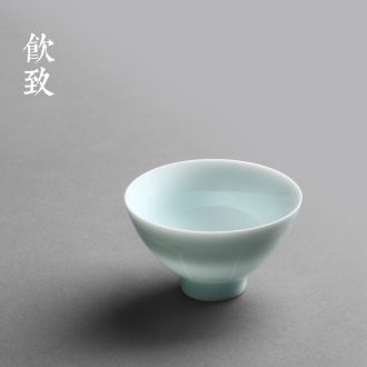 Drink to Jingdezhen hand-painted flat-bottomed big tureen xuan grain dry foam cups ceramic tea bowl of tea set