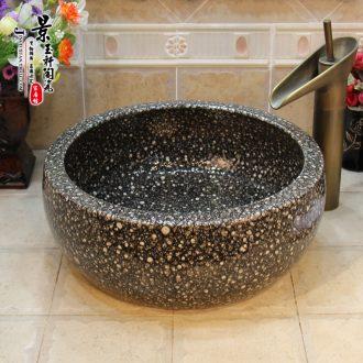 Jingdezhen JingYuXuan ceramic wash basin stage basin sink art basin basin waist drum yellow oracle
