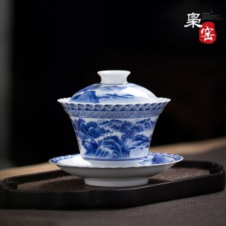Jingdezhen blue and white landscape three manual only tureen hand-painted ceramic tureen worship bowl tea bowl of kung fu tea cups