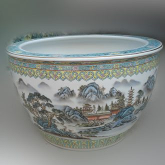 Hand-painted goldfish fish basin of jingdezhen ceramic porcelain painting inside and outside have sex shallow tortoise goldfish porcelain basin