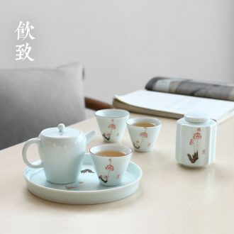 Drink to Jingdezhen antique hand-painted blue and white porcelain tea wash in hot water to wash large ceramic wash bucket cup tea ceremony with zero
