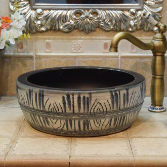 Jingdezhen JingYuXuan ceramic wash basin stage basin sink art basin basin crystalline glaze grey and black
