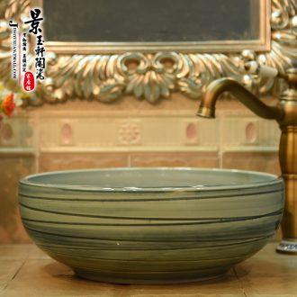 Jingdezhen JingYuXuan ceramic wash basin stage basin sink art basin basin basin green cherry blossoms