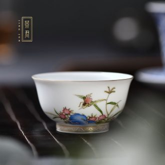 JingJun Jingdezhen ceramic hand-painted colored enamel paint cup White porcelain kung fu tea sample tea cup masters cup