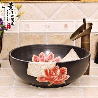 Jingdezhen ceramic lavatory basin basin art on the sink basin birdbath black han-jin luo PND tail-on