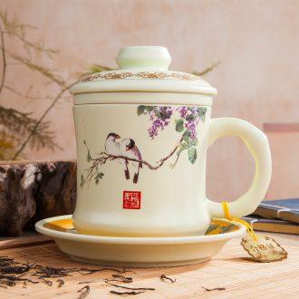 Portable sealed caddy jingdezhen celadon kung fu tea set household ceramics caddy tea caddy tea boxes