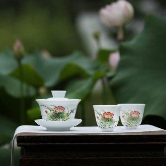 JingJun tureen ceramic cups of ice may only three bowl full manual hand-sketching kung fu tea bowl of jingdezhen blue and white
