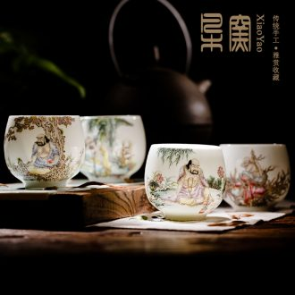 Owl jingdezhen kiln XY - CJJ119Q hand-painted ceramic tea set Blue and white landscape of fair mug