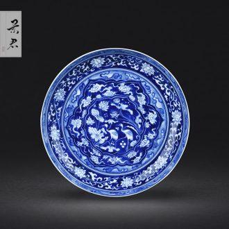 JingJun Hand-sketching jingdezhen blue and white porcelain pot bearing Dry foam plate tea tray A pot of mat The tea table with porcelain tea