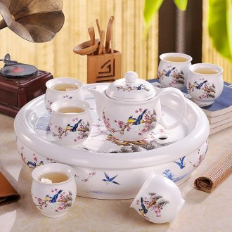 Jingdezhen white porcelain suet jade kung fu tea set home office teapot teacup box of a complete set of 6 people