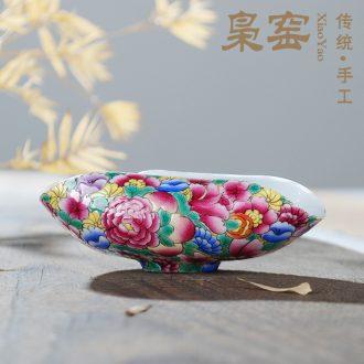 Owl kiln Jingdezhen hand-painted famille rose tea set tea small ceramic tea pot seal pot Kung fu tea set