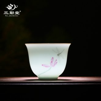The three frequently small ceramic cups sample tea cup single master cup S42079 cup of jingdezhen kung fu tea tea cup