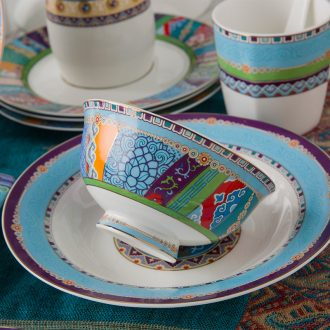 Jingdezhen ceramic bowl dish dish soup bowl Household bone bowls set piece Western tableware suit