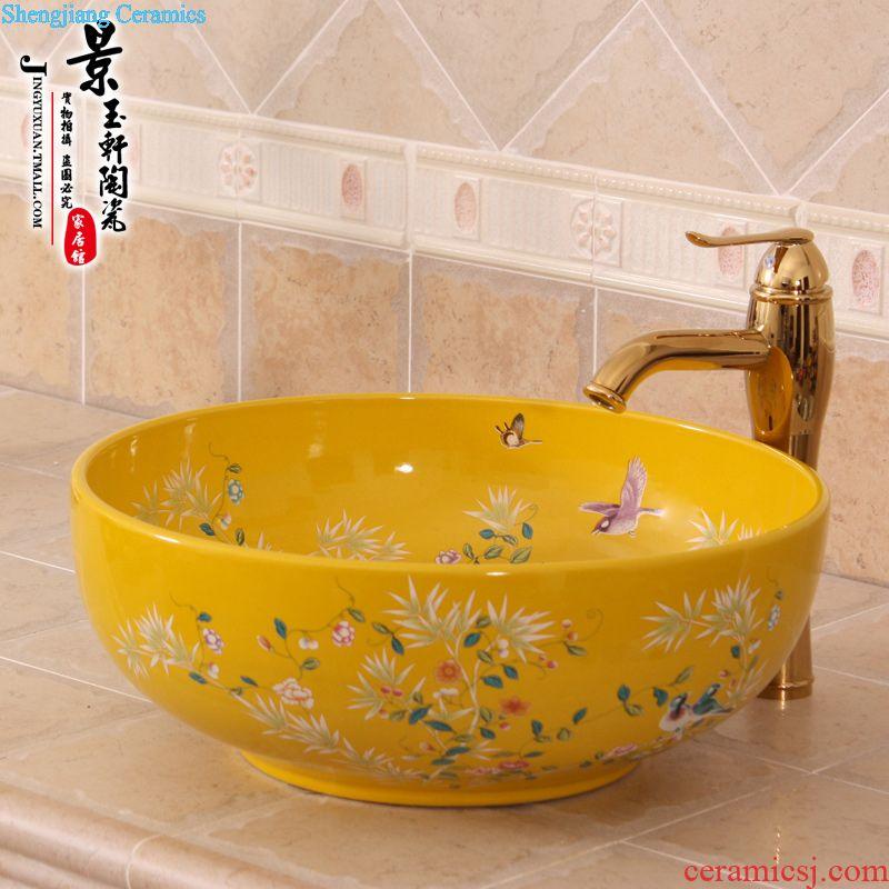 Jingdezhen JingYuXuan ceramic wash basin stage basin sink art basin basin of rain flower stones
