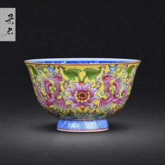 JingJun Jingdezhen ceramic hand-painted colored enamel large three tureen suit handmade porcelain kung fu tea set