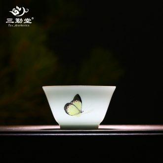 Three frequently jade porcelain tea light Jingdezhen kung fu tea cups S01028 ceramic building light manual master cup