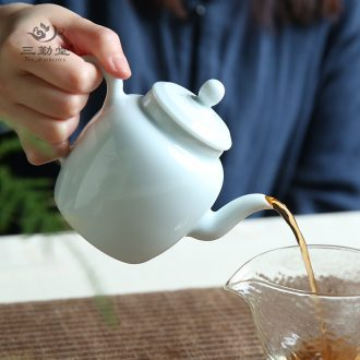 Three frequently hall your kiln kung fu tea set piece of jingdezhen ceramic teapot tea ceremony of a complete set of sample tea cup TZS173