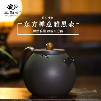 The three frequently kung fu tea set Contracted the teapot hand grasp pot of whole household your kiln ceramic small tea cups