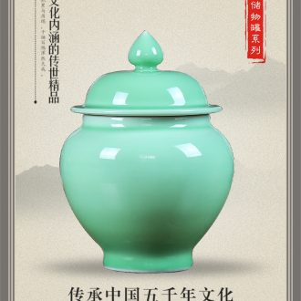 Jingdezhen blue and white ceramics storage tank caddy furnishing articles contracted sitting room adornment of modern household decoration