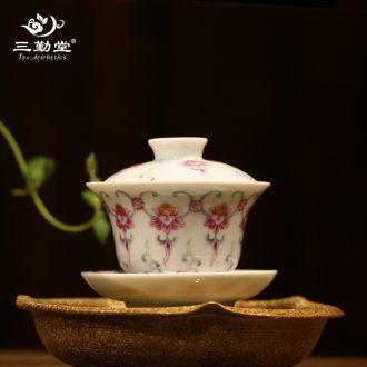 The three regular caddy tea warehouse number in ceramic POTS of jingdezhen S52010 kung fu tea set seal tank size