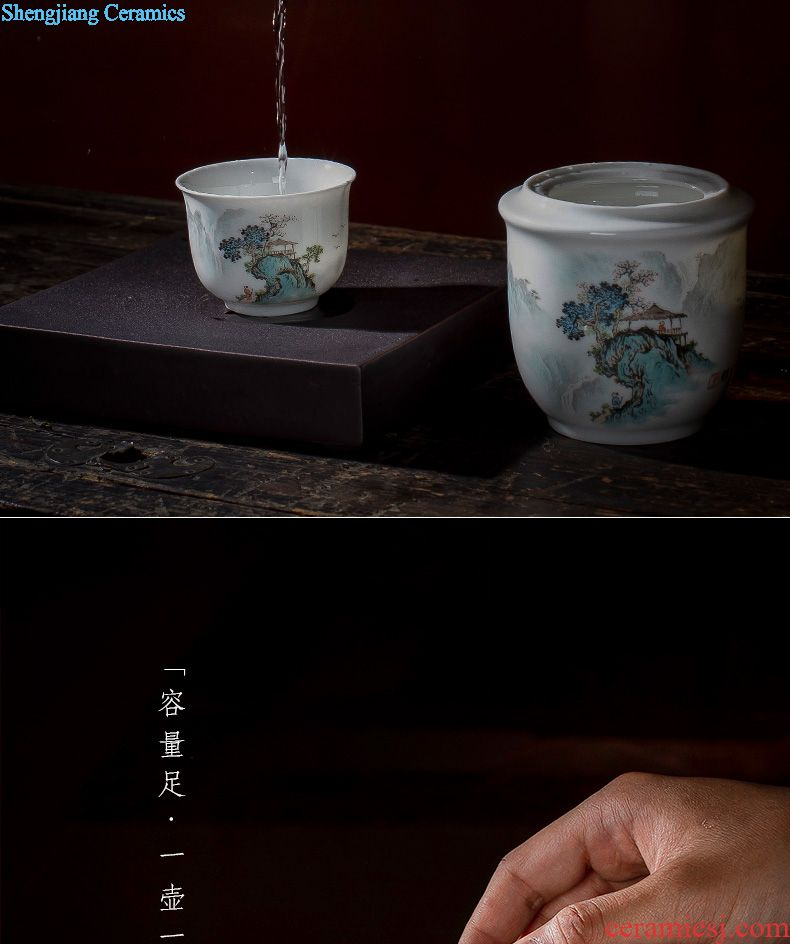 St the ceramic kung fu tea master cup hand-painted qunfang brocade cluster sample tea cup jingdezhen blue and white porcelain tea set single cup