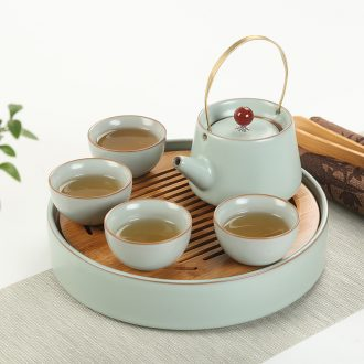 Travel is Yang ceramic tea set small bamboo tea mini home tea tray kung fu tea set dry suits on sale