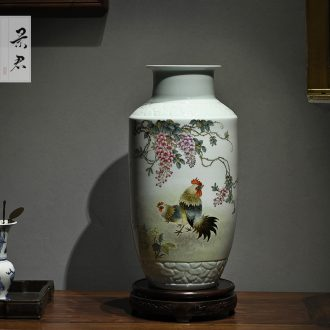 Jingdezhen hand-painted wooden stick bottle master porcelain vase furnishing articles ceramic sitting room decoration as ceramic flower vases