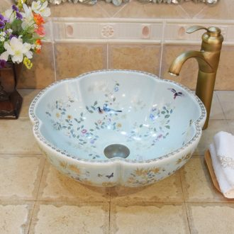 Jingdezhen porcelain face penjing jade xuan basin sink the stage basin to art torx navy white flowers and birds